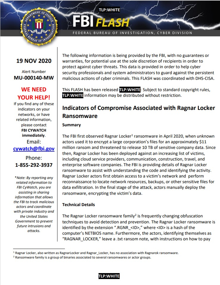 FBIのラグナロッカー警告 FLASH-MU-000140-MW.pdf (waterisac.org)